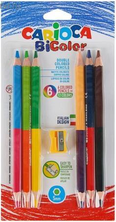 Набор карандашей CARIOCA Набор цветных деревянных двусторонних карандашей + точилка 12 шт двухсторонние 42264 пайетки двухсторонние