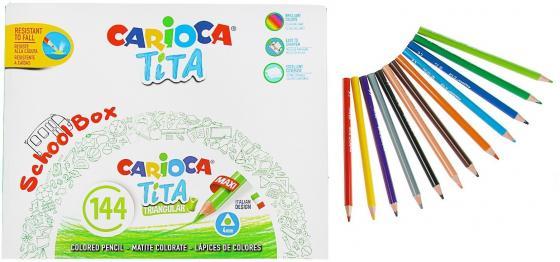 Набор карандашей цветных пластиковых Carioca Tita 144 шт (12 цветов), в пластиковом боксе набор пластиковых цветных карандашей baramba 16цв
