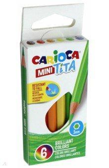 Набор карандашей цветных пластиковых Carioca MINI Tita 6 цв, длина карандаша 8,5 см, в картонной кор carioca набор смываемых восковых карандашей baby 8 цветов