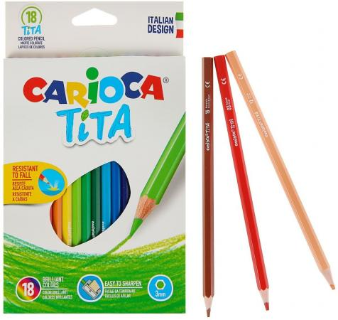 Набор карандашей цветных пластиковых Carioca Tita 18 цв, в картонной коробке с европодвесом (шестиуг carioca набор пластиковых мелков plastello 12 цветов