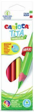 Набор крупных карандашей цветных пластиковых Carioca Tita Maxi 6 цв, в картонной коробке с европодв. carioca набор смываемых восковых карандашей baby 8 цветов