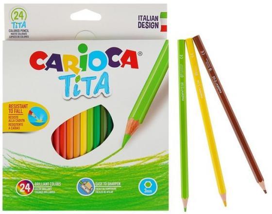 Набор карандашей цветных пластиковых Carioca Tita 24 цв, в картонной коробке с европодвесом (шестиуг пазл origami пингвиненок pororo весёлый праздник 35 эл