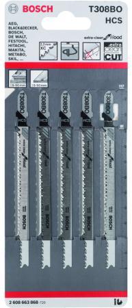Лобзиковая пилка Bosch Т 308 В O HCS 5шт 2608663868 лобзиковая пилка bosch t 118 b 25шт