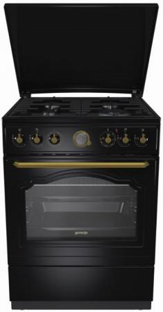 Комбинированная плита Gorenje K62CLB черный газовая плита gorenje k62clb электрическая духовка антрацит