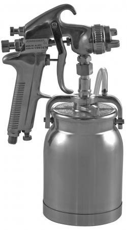 Краскопульт для компрессора JONNESWAY JA-507S нижний бачок алюминий 1л, дюза 1.6мм краскопульт пневматический jonnesway ja hvlp 6109