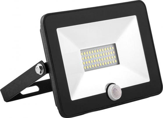 Прожектор светодиодный SAFFIT 29523 с встроенным датчиком 2835SMD,30W 6400K IP65, черный, SFL80-30