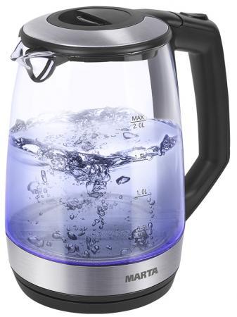 Чайник Marta MT-1095 2200 Вт черный жемчуг 2 л пластик/стекло