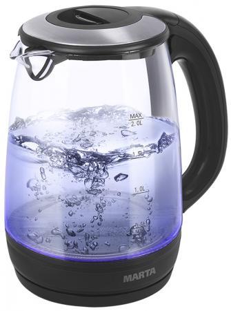 Чайник Marta MT-1094 2200 Вт черный жемчуг 2 л пластик/стекло чайник marta mt 1094 2200 вт черный жемчуг 2 л пластик стекло