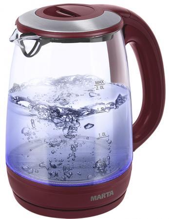 Чайник Marta MT-1094 2200 Вт красный гранат 2 л пластик/стекло чайник marta mt 1094 2200 вт черный жемчуг 2 л пластик стекло