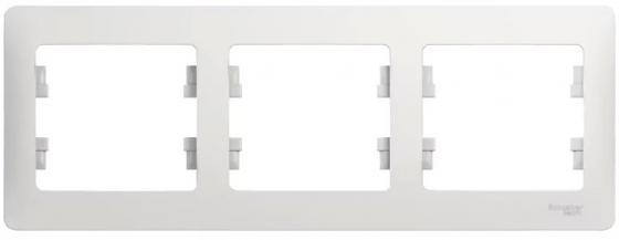 Рамка SCHNEIDER ELECTRIC GSL000103 Glossa 3-м горизонт. бел. рамка schneider electric gsl000103 glossa 3 м горизонт бел