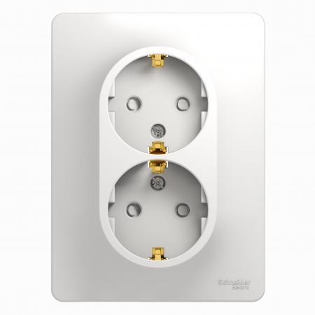 Розетка SCHNEIDER ELECTRIC 275145 Glossa 2-м сп с заземл. защ. шторки бел.