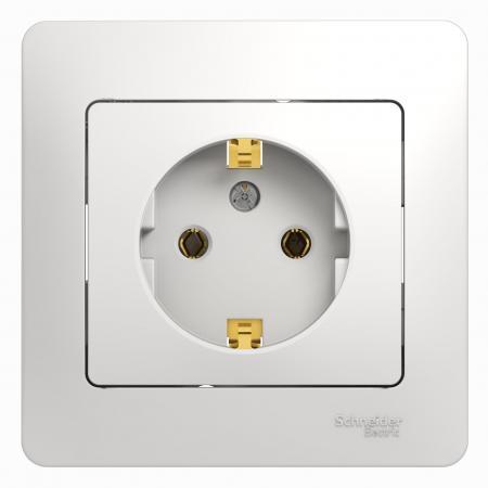 Розетка SCHNEIDER ELECTRIC 275152 Glossa 1-м сп с заземл. бел. gsl000142