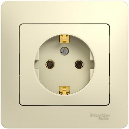 Розетка SCHNEIDER ELECTRIC 275201 Glossa 1-м сп с заземл. беж. gsl000242