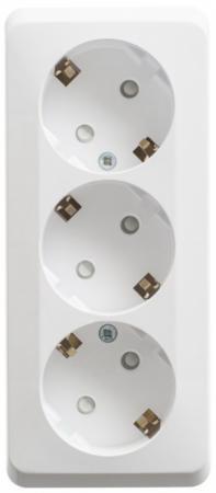 Розетка SCHNEIDER ELECTRIC 401803 тройная с заземлением со шторками 16А 250B. БЕЛЫЙ. Россия