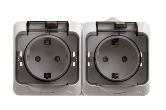 купить Блок SCHNEIDER ELECTRIC PA16-244B Этюд оп 2-м розетка с заземл. защ. шторки IP44 бел. дешево