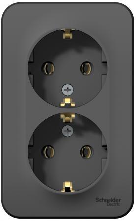 Розетка SCHNEIDER ELECTRIC BLNRA010206 Blanca 2-м оп 16А 250В без шторок с заземл. антрацит