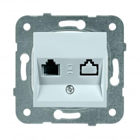 Механизм розетки PANASONIC WKTT0404-2SL-RES Karre Plus компьютерная RJ45, категория 5e, серебро