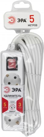 Удлинитель ЭРА Б0019232 с заземл. U-3es-5m 3x1мм2 с выкл 3гн 5м удлинитель космос 4х5м с заземл с выкл пвс 3х1 yksm5m 4g z v k
