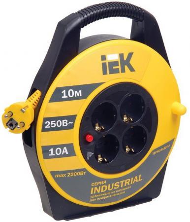 Удлинитель IEK УК10 Industrial 4 розетки 10 м 277734 с термозащитой стабилизатор напряжения ippon avr 1000 4 розетки 1 м черный