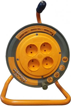 Удлинитель на катушке GLANZEN ЕВ-50-003 50м 2х1мм 10А 2500Вт, 4 розетки удлинитель 50 метров на катушке