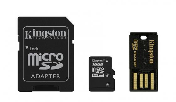 Карта памяти Micro SDHC 16GB Class 4 Kingston MBLY4G2/16GB + адаптер SD карта памяти micro sdhc sony sr16nya 16gb