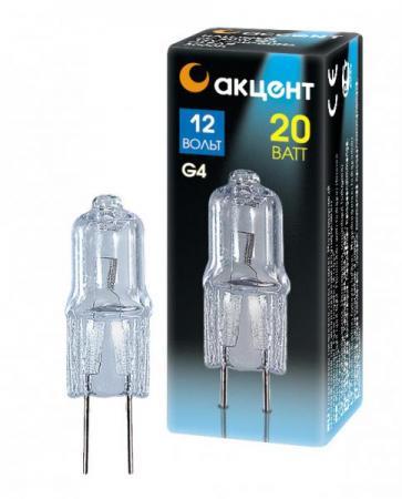 Лампа галогенная АКЦЕНТ JC 12В 20W G4 капсульная прозрачная галогенная лампа no 10pcs lot g4 10w jc dc12v