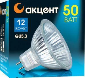 Лампа галогенная АКЦЕНТ MR16 12В 50W 36° GU5.3 с отражателем и защитным стеклом лампа галогенная акцент mr16 12в 20w 36° gu5 3 с отражателем и защитным стеклом