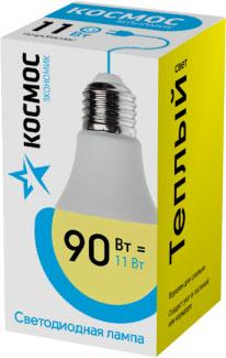 Лампа светодиодная КОСМОС LkecLED11wA60E2730 Экономик A60 11Вт 220В E27 3000К