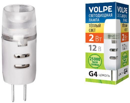 Лампа светодиодная VOLPE LED-JC-2W/WW/G4/FR/S 2Вт G4