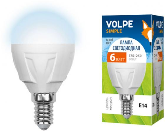 Лампа светодиодная VOLPE LED-G45-6W/NW/E14/FR/S E14 6Вт форма шар матовая колба белый 08138 e14 6w 4500k led g45 6w nw e14 fr alm01wh
