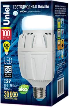 Лампа светодиодная VENTURO LED-M88-100W/DW/E27/FR ALV01WH картон 100Вт 10000Лм 98x187мм дневной 300 лампа светодиодная uniel led m88 70w dw e27 fr alv01wh картон