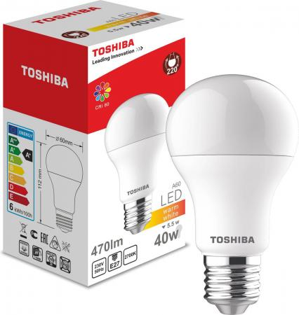 Лампа TOSHIBA 00101315010B светодиодная а60 40Вт 2700k 80ra nd-1 pk toshiba 00101315010b 60 40 2700k 80ra nd 1 pk