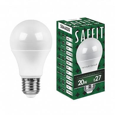 Лампа светодиодная шар Saffit SBA6020 E27 20W 2700K лампочка saffit e27 a65 25w 2700k 230v sba6525 55087