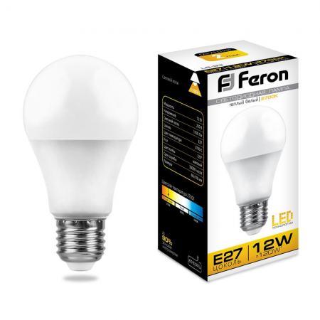 Лампа светодиодная FERON 25489 (12W) 230V E27 2700K, LB-93 feron dh0802 230v без лампы e27 340 175 108 черный