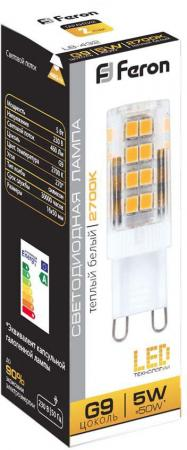Лампа светодиодная капсульная FERON LB-432 G9 5W 2700K лампа светодиодная капсульная feron lb 432 g9 5w 4000k