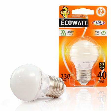 Купить Лампа светодиодная ECOWATT P45 230В 4.7(40)W 2700K E14 (миньон) теплый белый свет, шарик