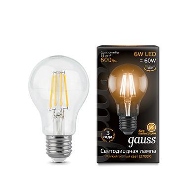 Лампа светодиодная GAUSS 102802106 LED Filament А60 Е27 6Вт 2700к 1/10/40 edison led filament bulb g125 big global light bulb 2w 4w 6w 8w led filament bulb e27 clear glass indoor lighting lamp ac220v