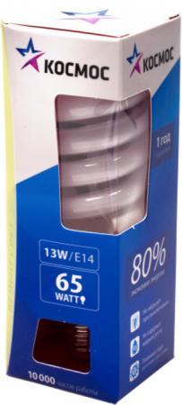 Лампа энергосберегающая КОСМОС 13Ватт 2700К Е14 Т2 лампа энергосберегающая космос свет теплый модель т2 spc 15w e1427