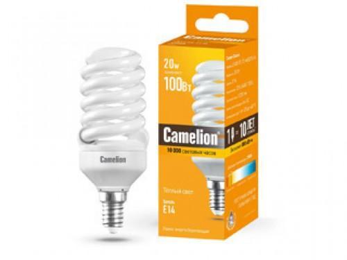 Лампа энергосберегающая спираль Camelion LH20-FS-T2-M/827/E14 E14 20W 2700K лампа накаливания цилиндрическая camelion mic 15 p cl e14 e14 15w 2700k