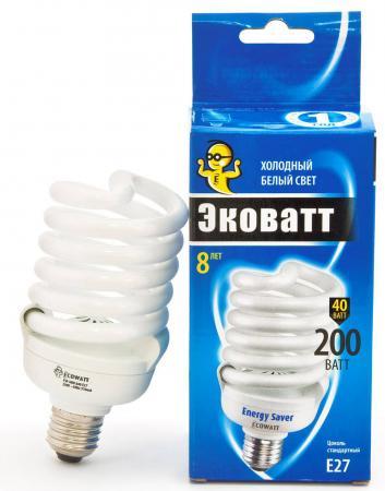 Лампа энергосберегающая ECOWATT FSP 40W 840 E27 холодный белый свет витая, люминесцентная линейная люминесцентная лампа philips tld 18w 865 840 830 t8