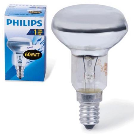Лампа накаливания PHILIPS Spot NR50 60W E14 30° (миньон) зеркальная philips b35 60w e14 fr
