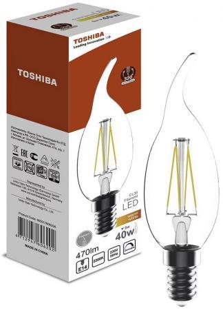 Лампа светодиодная свеча на ветру Toshiba 00501760620A E14 5W 2700K toshiba 00101315010b 60 40 2700k 80ra nd 1 pk