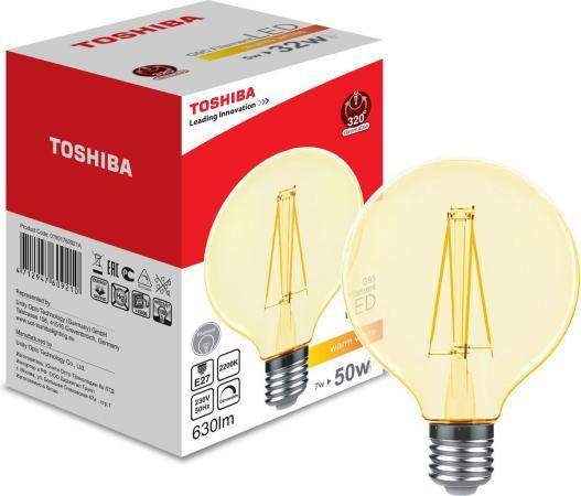 Лампа TOSHIBA 01901760921A филаментная золотистая димируемая g95 Е27 7Вт 2200k 80ra dim винтажная лампа эдисон radio spiral g95 32 нити