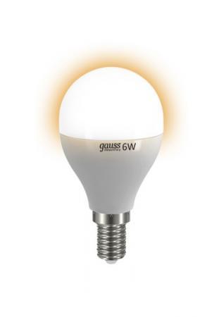 Лампа GAUSS LED Elementary Globe 6W E14 2700K арт.LD53116 лампочка gauss elementary 6w e14 220v 2700k ld53116