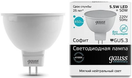 Лампа GAUSS LED Elementary 13526 MR16 GU5.3 5.5W 4100К 1/10/100 лампа gauss led elementary 13526 mr16 gu5 3 5 5w 4100к 1 10 100
