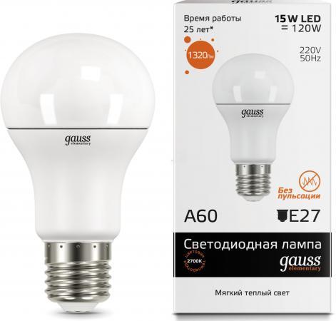 Лампа светодиодная груша Gauss LED Elementary 23215 E27 15W 2700K лампа энергосберегающая спираль ecowatt mini sp 15w 827 e27 e27 15w 2700k