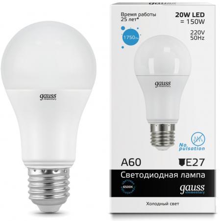 Лампа светодиодная груша Gauss LED Elementary 23239 E27 20W 6500K недорого