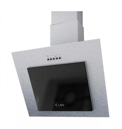 Вытяжка LEX MINI 600 INOX настенная механическое 37дБ 420м3/час нержавеющая сталь черное стекло вытяжка встр lex hubble 600 ivory 60см 650куб сл кость