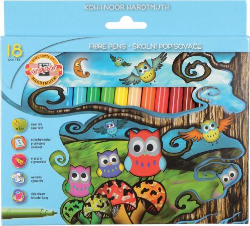 Набор фломастеров Koh-i-Noor Совята 2 мм 18 шт набор фломастеров koh i noor домашние животные 2 мм 24 шт разноцветный 1002 24 te 1002 24 te