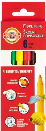 Набор фломастеров школьных РЫБЫ, 6 цветов, картонная коробка с европодвесом trolls набор фломастеров 6 цветов